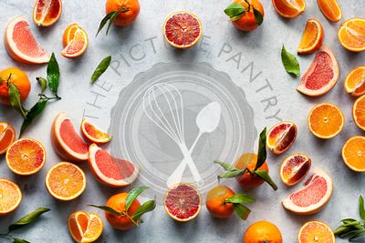 Fresh citrus fruit border background