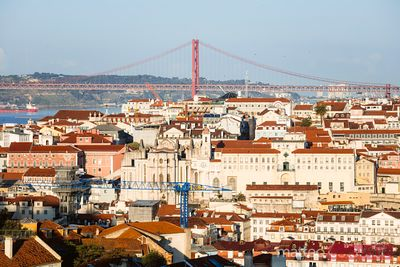 Cityscape with Ponte 25 de Abril, Lisbon, Portugal