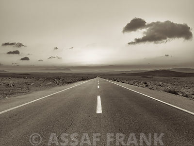 Road at Sunrise, Vanishing Point, Ramon Crater, Israel