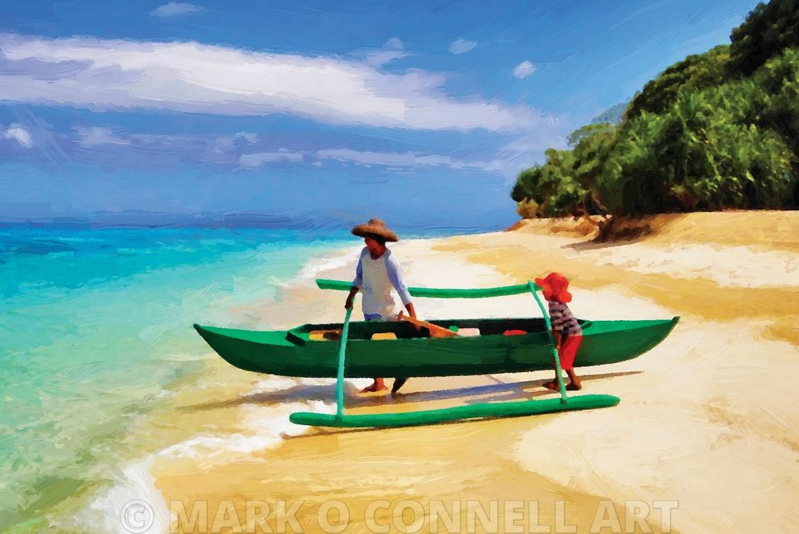 art,painting,airbrush,sand,boat,fishing,father,son,boy,beach,sea,ocean,trees,hats,outrigger