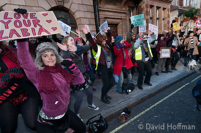 Women march down Harley Street in protest against surgery for designer vaginas.