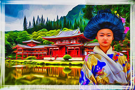 art,painting,airbrush,japan,japanese,girl,culture,sunset,traditional,temple
