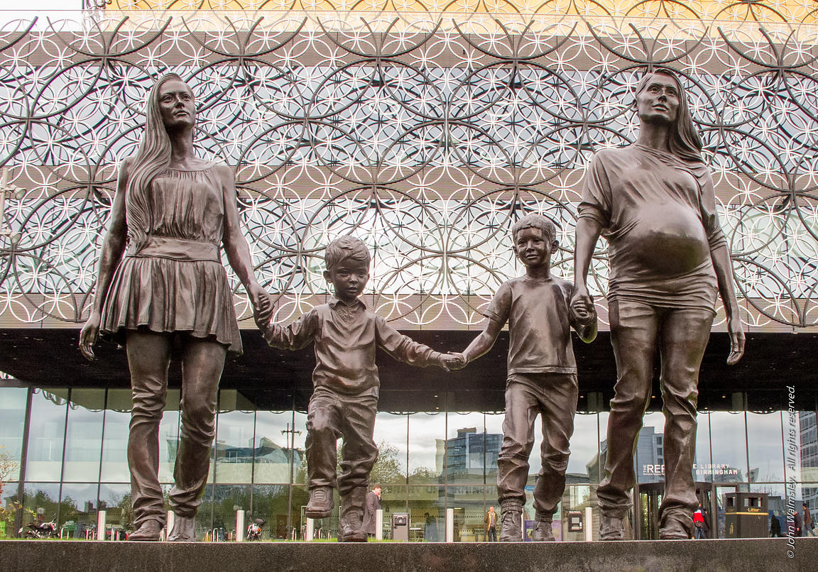 "#114688,  ""A Real Birmingham Family"", bronze sculpture by Rachel Wearing, outside the new Birmingham Library."