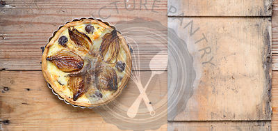 Caramalised onion, anchovy and olive tart