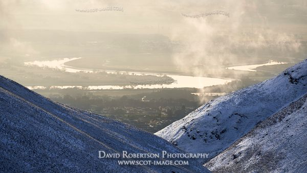 Prints & Stock Image - View of the River Forth from above Alva Glen, the Ochils, Clackmannanshire, Scotland