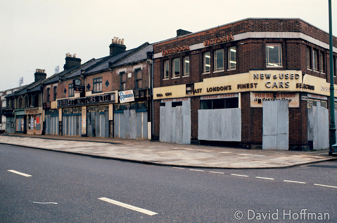 Closed businesses & shops in Canning Town, a derelict area of East London. © David Hoffman phone +44 (0)20 8981 5041, fax +44...