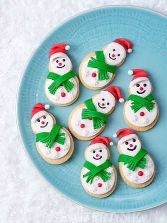 Christmas Snowmen biscuits on a plate