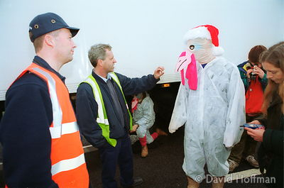 Asda Turkeys 8 Protesters against GM foods from the Snowball & the GenetiX anti GM food movement chain themselves to delivery...