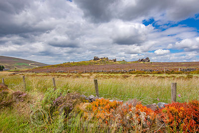 Cloudy sky over colourful moorland.