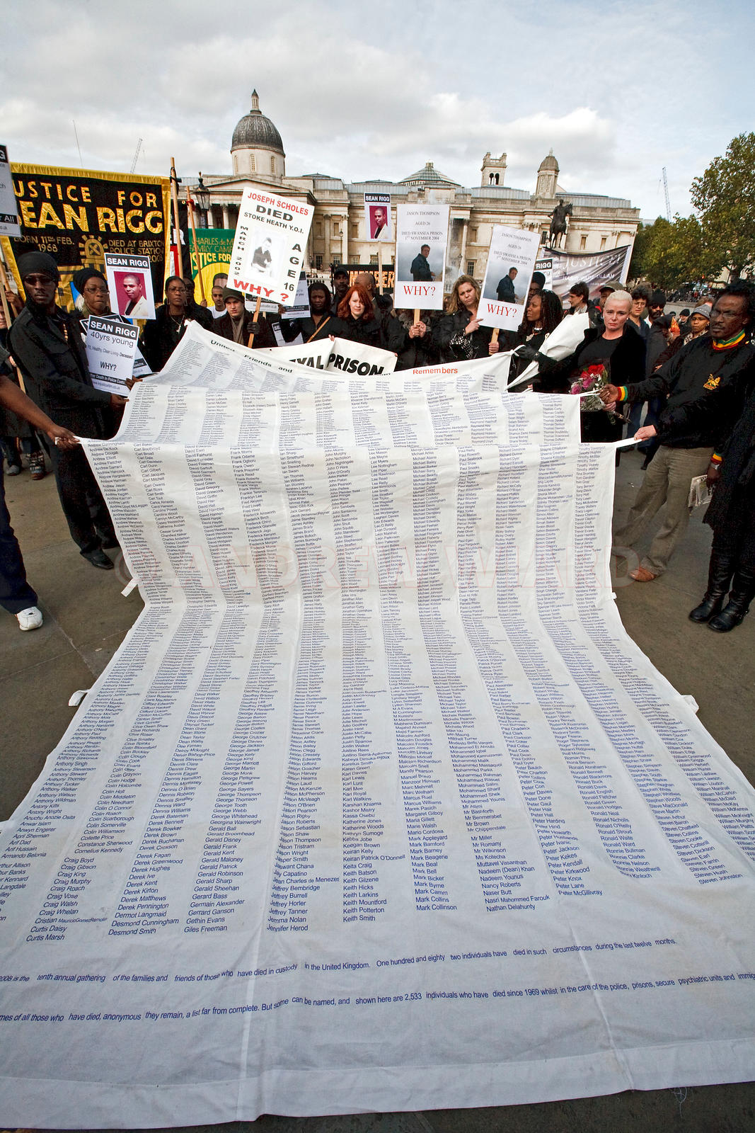 25.10. 08. London . Protest by UFFC (United Friends and Families Campaign), friends and the families of people who have died ...