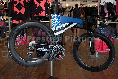 Bicycle on show in the Ironman merchandise marquee