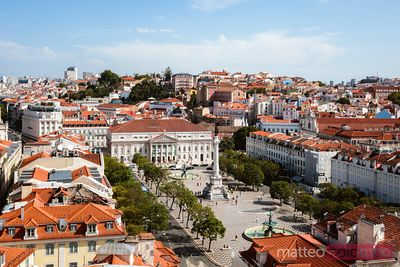 Elevated view of Rossio square and city, Lisbon, Portugal