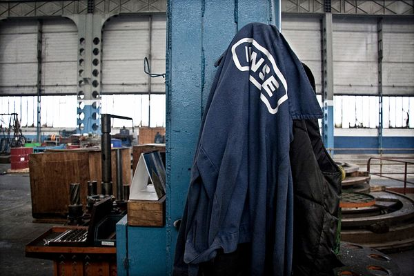 INNSE overall hanging inside the factory..