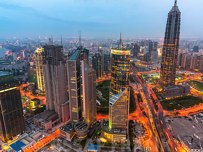 Aerial view of skyscrapers at dusk, Shanghai