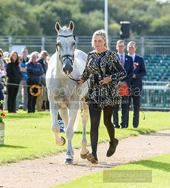 Isabel English and FELDALE MOUSE at the trot up, Land Rover Burghley Horse Trials 2019