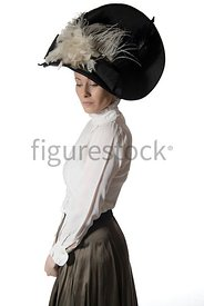 An Edwardian woman in a big hat – shot from eye-level.