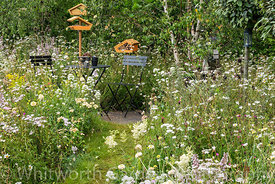 The BBC Springwatch Garden designed by Jo Thompson at the RHS Hampton Court Palace Garden Festival 2019.