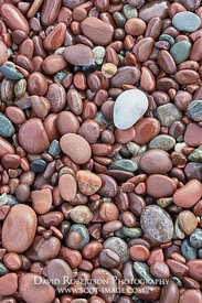 Image - Single Quartzite stone on bed of red pebbles, Bay of Stoer, Stoer, Assynt, Sutherland, Highland, Scotland