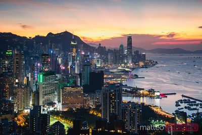 Dusk over Hong Kong Island, China