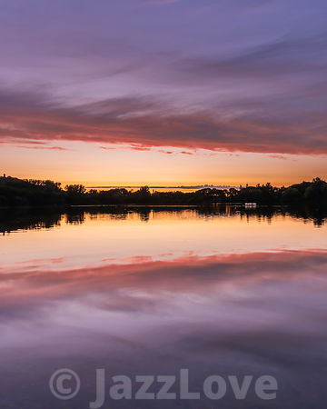 Sunset over Westport lake in Stoke on Trent, Staffordshire, England.