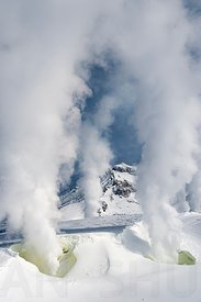 Volcano, Sulfur and snow