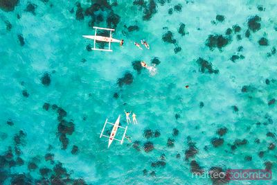 Aerial view of tourists swimming with turtle, Philippines