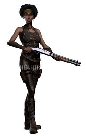 Dysptopian Woman with Shotgun