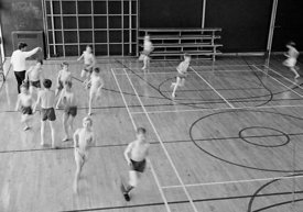 #83710,  PE in the gym, Whitworth Comprehensive School, Whitworth, Lancashire.  1970.  Shot for the book, 'Family and School,...
