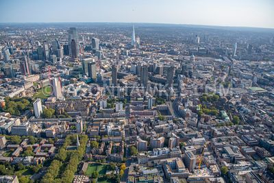 Aerial view of the Barbican, Farringdon and Clerkenwell, London.