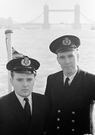 #124428,  HM Customs & Excise officers on the river Thames, London, 1973.