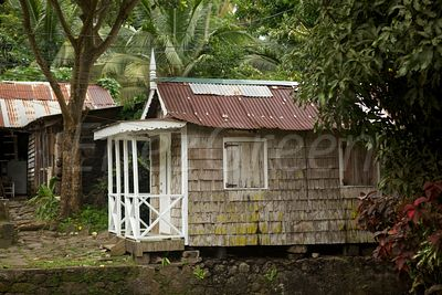 Traditional wooden hut of Saint-Lucia