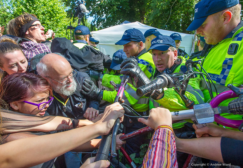 England, UK . 19.8.2013. Balcombe . Activists  from Reclaim the Power camp, organised by No Dash for Gas, join Frack Free Sus...