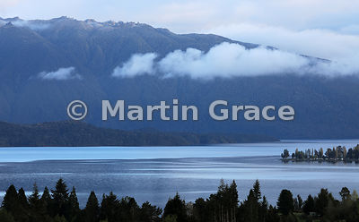 Lake Te Anau at dawn, Fiordland National Park, Southland, South Island, New Zealand
