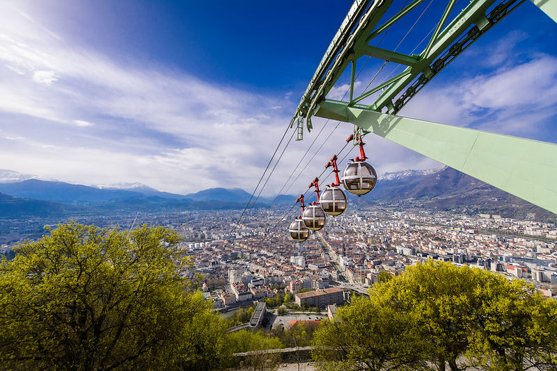 Grenoble city and cable car seeing from Bastille viewpoint