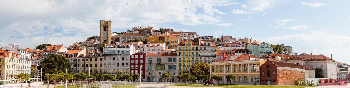Panoramic of colorful houses, Lisbon, Portugal