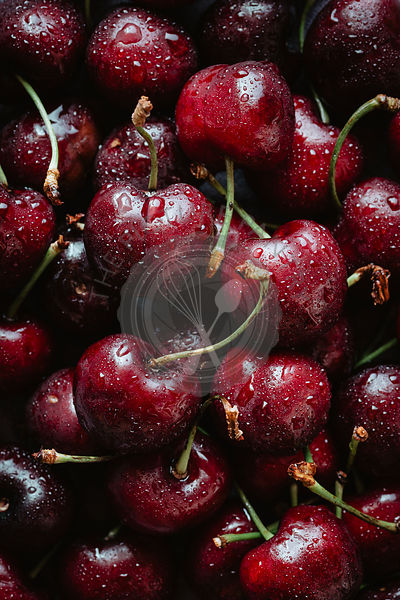 Macro shot of fresh cherries