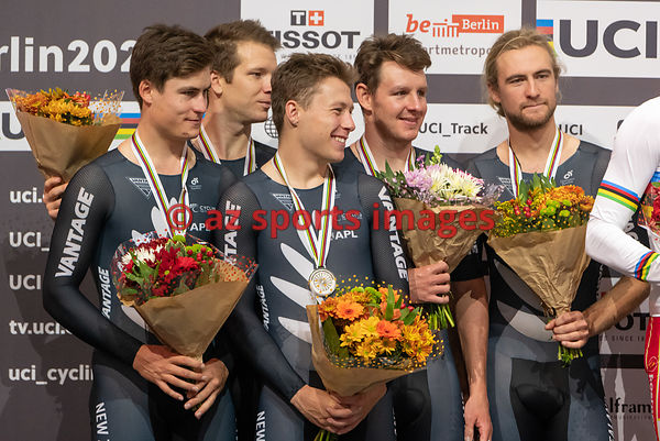 Men 's Team Pursuit medal awards ceremony - New Zealand - STEWART Campbell, GATE Aaron, GOUGH Regan, KERBY Jordan