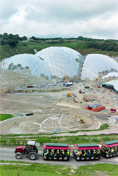 00062303-23a  The Eden Project under construction in June 2000. Inside the two biomes are plants that are collected from many...