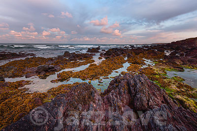Beautiful morning light on scenic rocky beach during low tide in Freshwater West, Pembrokeshire, South Wales,UK.