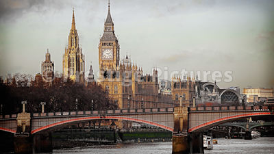 Towers of the Houses of Parliament with Lambeth Bridge in the Foreground