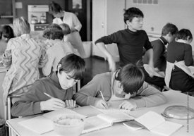 #83638,  Making notes during cooking class, Whitworth Comprehensive School, Whitworth, Lancashire.  1970.  Shot for the book,...