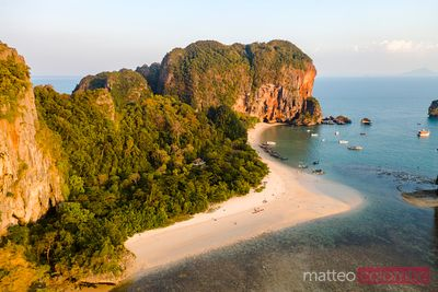 Aerial of Ao Phra Nang beach at sunset, Railay, Thailand