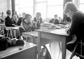 #83631,  Taking the class register, Whitworth Comprehensive School, Whitworth, Lancashire.  1970.  Shot for the book, 'Family...