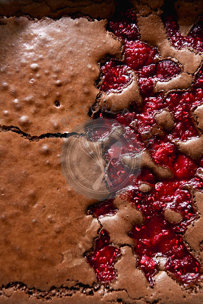 Raspberry Brownies close up