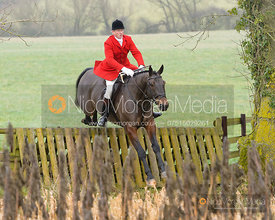 Nicholas Leeming jumping a hunt jump at Peakes - The Fitzwilliam Hunt visit the Cottesmore at Burrough House