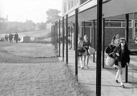#83612,  Arriving at school in the morning, Whitworth Comprehensive School, Whitworth, Lancashire.  1970.  Shot for the book,...