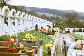 #012507,  Bryntaf Cemetery, Aberfan, Glamorgan, South Wales, 1975.  The Aberfan disaster happened on 21st October 1966 when a...
