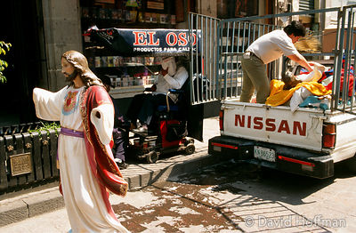 Religious Shop Mexico City 3 Delivery of Jesus statue to shop in Mexico City selling religious artefacts, regalia & books.