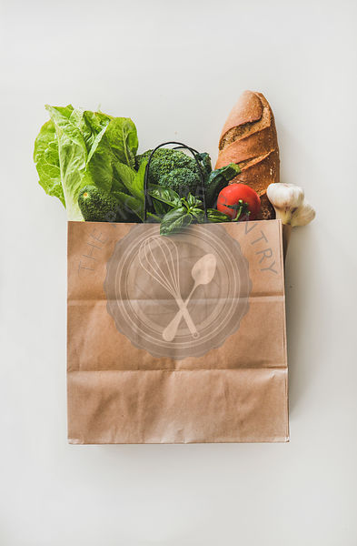 Online grocery healthy food shopping in paper bag, top view