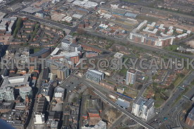 Liverpool aerial photograph of new developments in the area Churchill Way and Great Crosshall Street